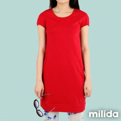 【Milida,全店七折免運】-早春商品-素色款-簡約休閒口袋洋裝 1