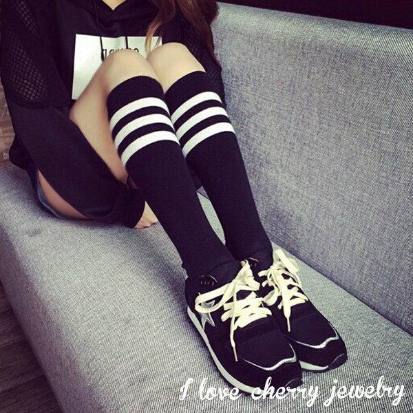 學院風日系條紋造型高筒襪【櫻桃飾品】【22427】