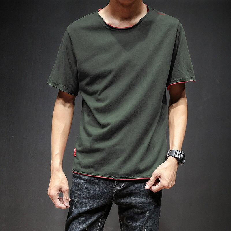 純色T恤男潮流休閒百搭ulzzang運動短袖韓版寬鬆美式復古體恤學生