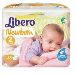 麗貝樂 Libero 嬰兒紙尿褲S 2號-36片x6包(尿布) #4635x6★衛立兒生活館★