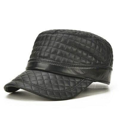 鴨舌帽真皮棒球帽-格子縫線平頂羊皮男帽子73rq17【獨家進口】【米蘭精品】