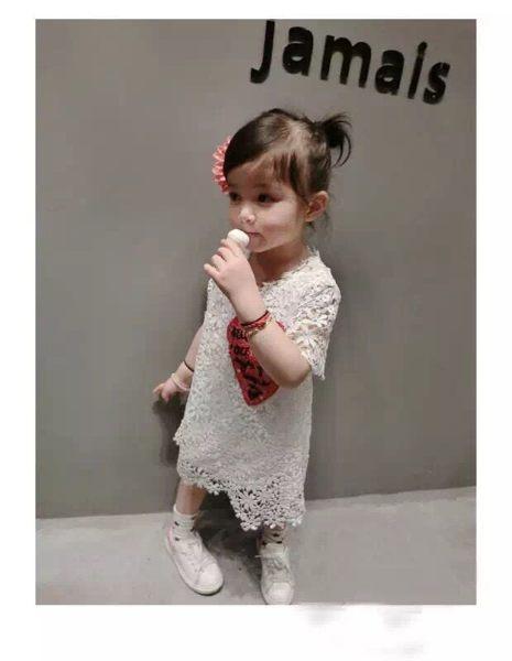 女童短袖洋裝 蕾絲連身裙 小禮服 寶寶童裝 MS38308 好娃娃