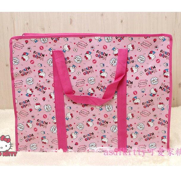 asdfkitty可愛家☆KITTY蘋果版粉色購物袋LL號-收納袋/輕量肩背包-幼兒園午睡棉被睡袋/韓國正版商品