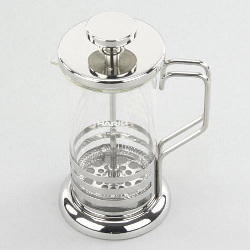 【百倉日本舖】日本 HARIO 不鏽鋼手壓過濾泡茶壺300ml/花茶壺/玻璃壺