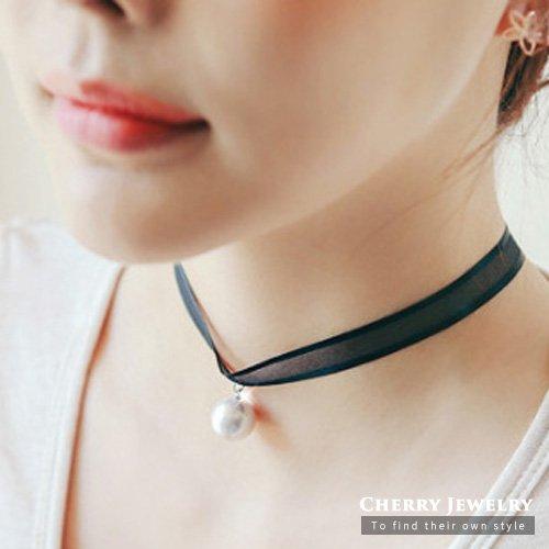 復古蕾絲頸帶珍珠項鍊 頸鍊 10313【櫻桃飾品】【10313】