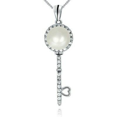 925純銀項鍊 珍珠吊墜~ 鑰匙 鑲鑽生日情人節 女飾品73dh8~ ~~米蘭 ~
