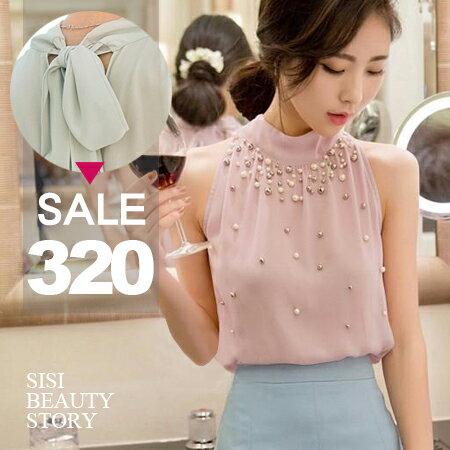 SiSi Girl:SISI【V6012】甜蜜佳人立領圍脖繞頸綁帶削肩鑲珠露肩無袖背開襟雪紡上衣OL情侶約會