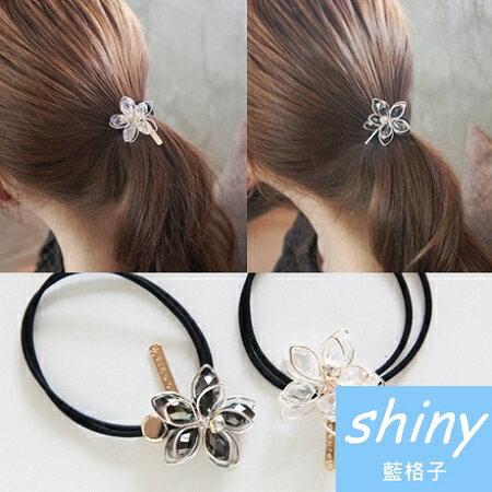 【DJB2105】shiny藍格子-時尚水晶花朵髮圈