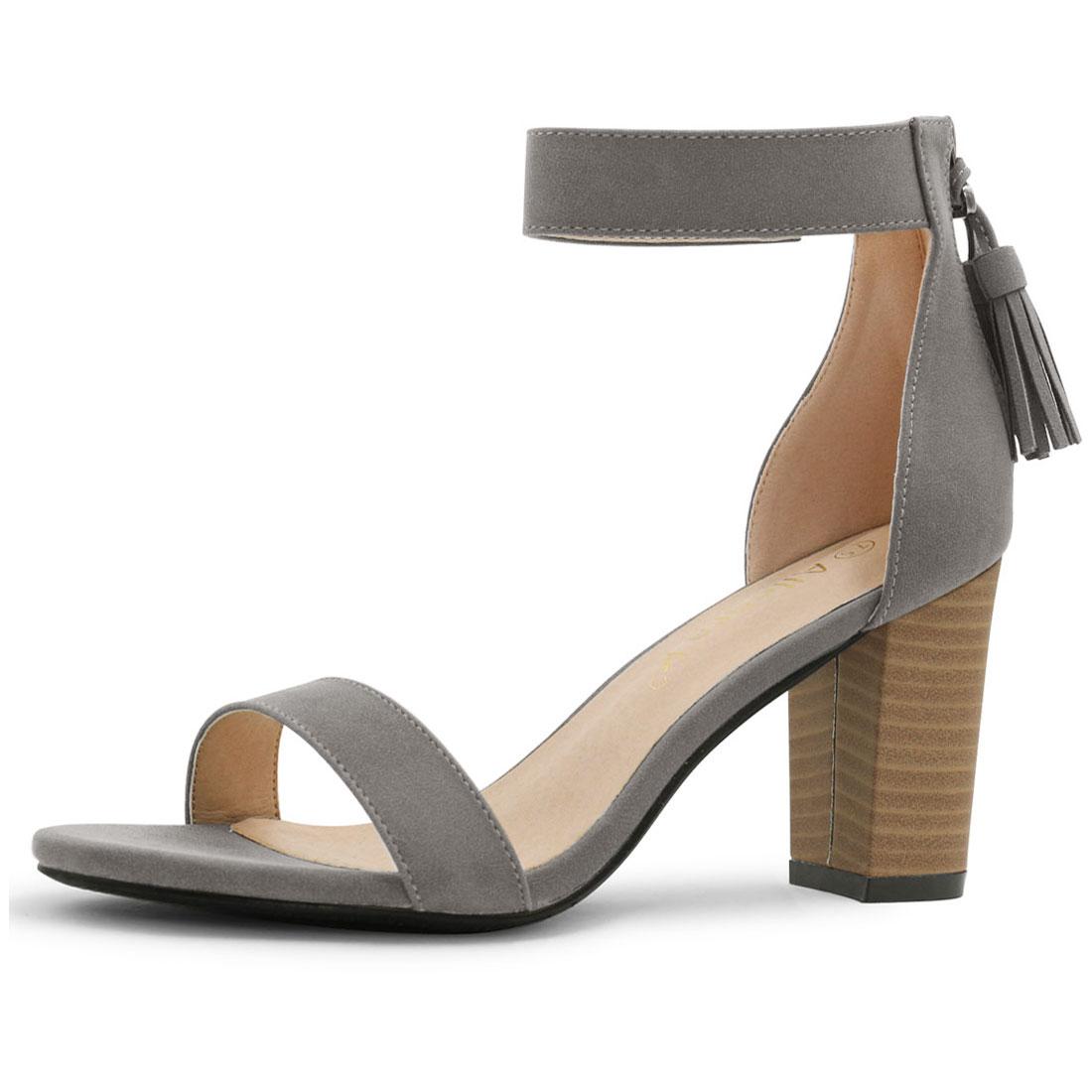 57d38d56b44 Unique Bargains Women s Open Toe Tassel Stacked Heel Ankle Strap Sandals  Dark Gray (Size 9