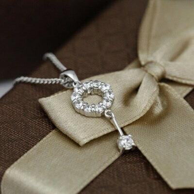 925純銀項鍊 鑲鑽吊墜~ 奢華氣質 母親節情人節生日 女飾品73dk49~ ~~米蘭 ~