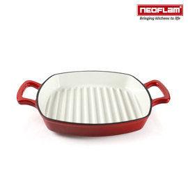 免運費 韓國NEOFLAM 28cm厚釡琺瑯鑄鐵牛排煎鍋 NF-CI-G28