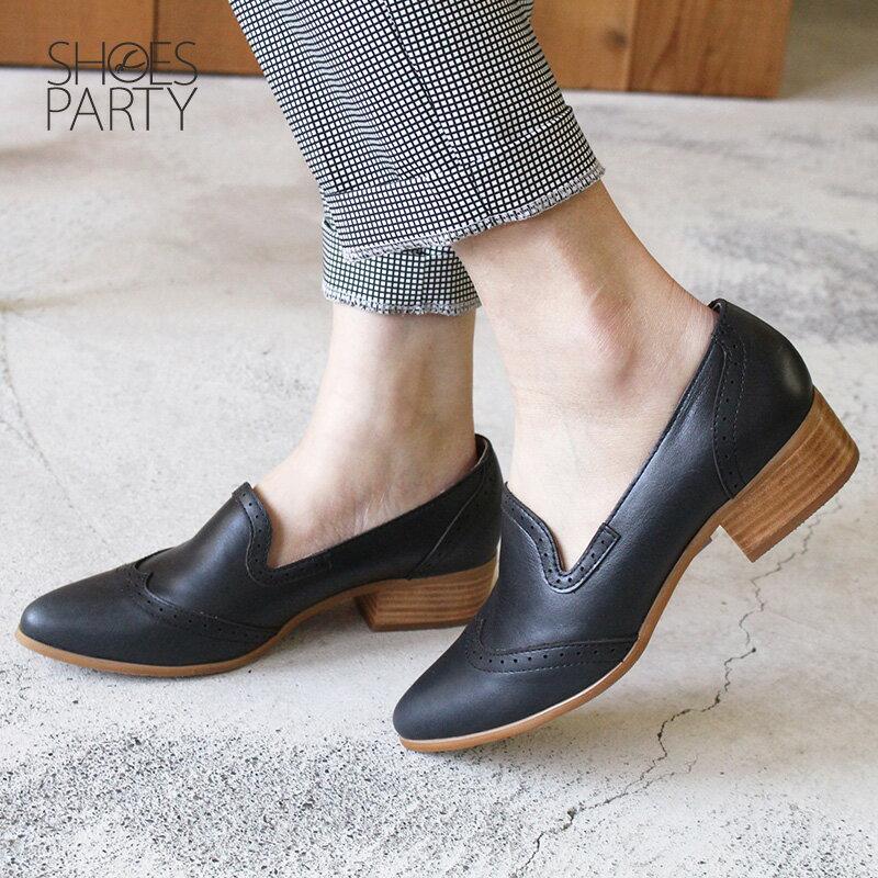 【P2-17911L】外尖內圓真皮沖孔中跟牛津鞋_Shoes Party 2