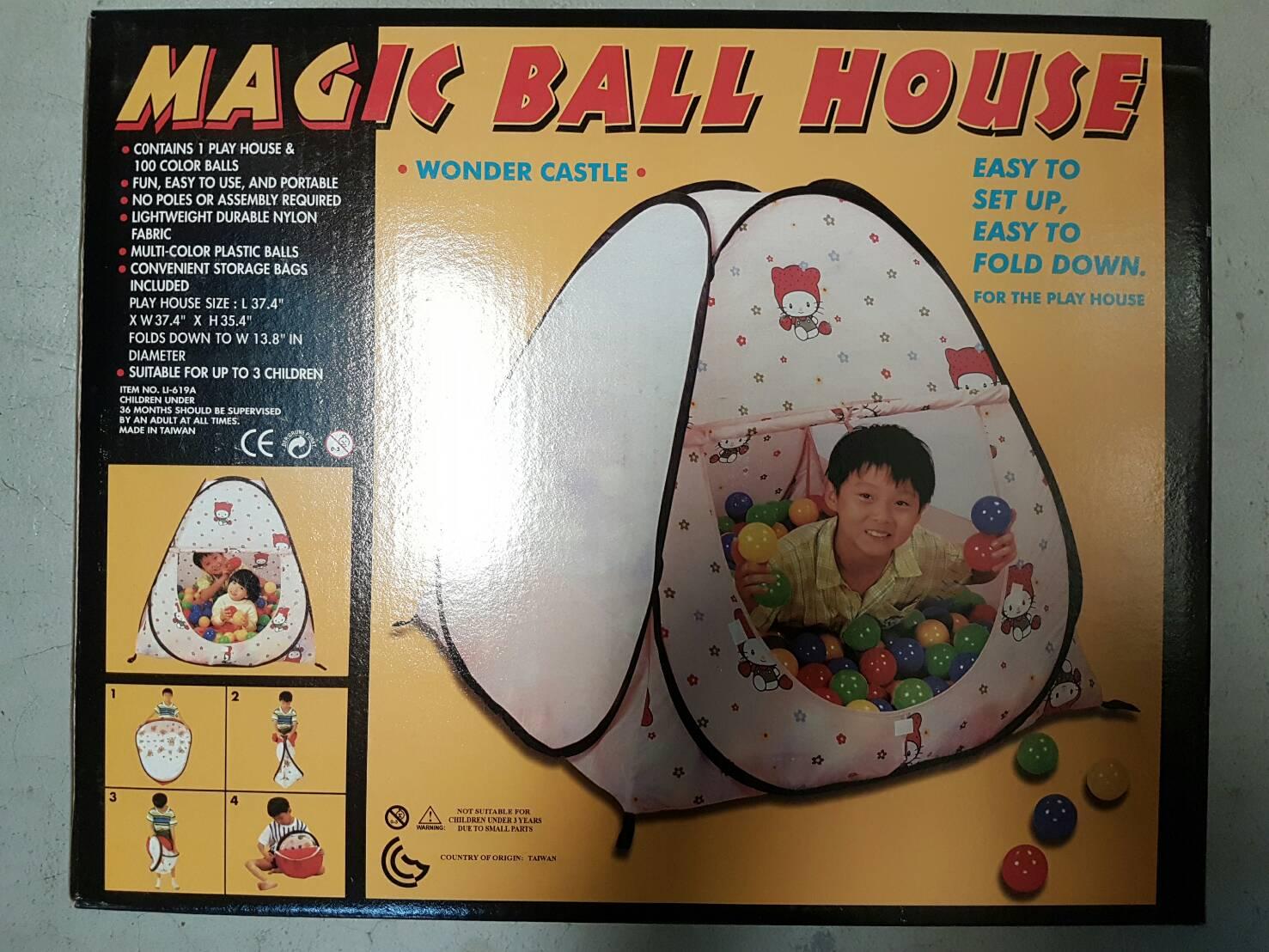 台灣商品 花朵貓咪款 兒童自動球屋 折疊遊戲球屋 附100顆球