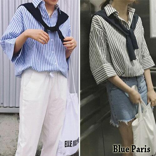 上衣 - 綁帶披肩條文五分袖襯衫 《2色》【28048】現貨+預購 - Blue Paris