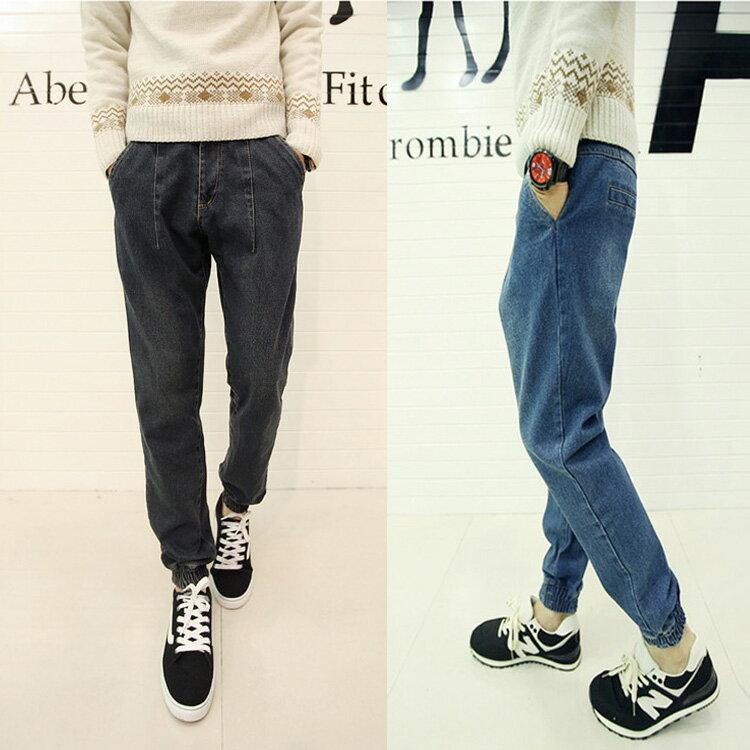 【$199超低價出清專區】 日韓新品牛仔版小腳修身休閒哈倫束口褲
