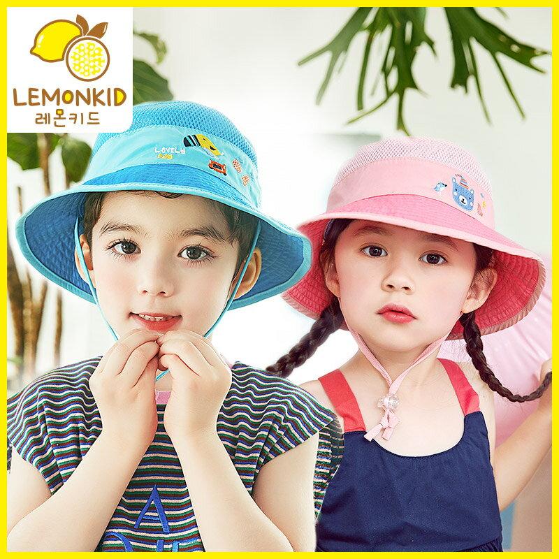 兒童雙面戴透氣網遮陽防曬盆帽