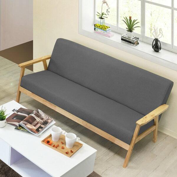 !新生活家具!《彗星》灰色三人位沙發三人沙發布沙發亞麻布松木扶手休閒椅清新北歐兩色