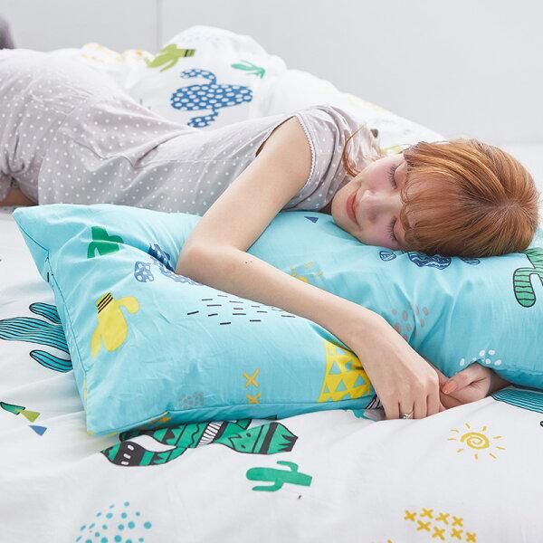 床包單人-100%精梳棉【OH!仙人掌-白】含一件枕套,戀家小舖,台灣製