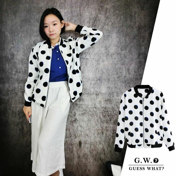 GW【對比色普普風夾克】設計感 黑藍圓點點 休閒圓點 口袋 長袖拉鍊外套 S-L號 GUESSWHAT