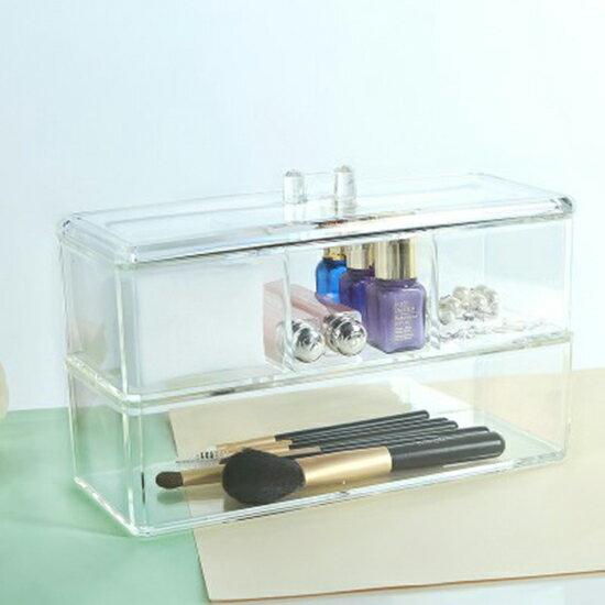 ♚MYCOLOR♚無印風格系列-透明雙層化妝品收納盒壓克力桌面收納整理盒【P277】