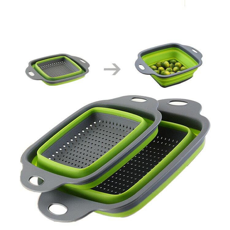 寶貝屋 一組兩入 方型折疊瀝水籃 折疊 矽膠 瀝水籃 洗菜籃 水果籃 瀝水架 清洗蔬果 廚房用品 收納籃 可手提