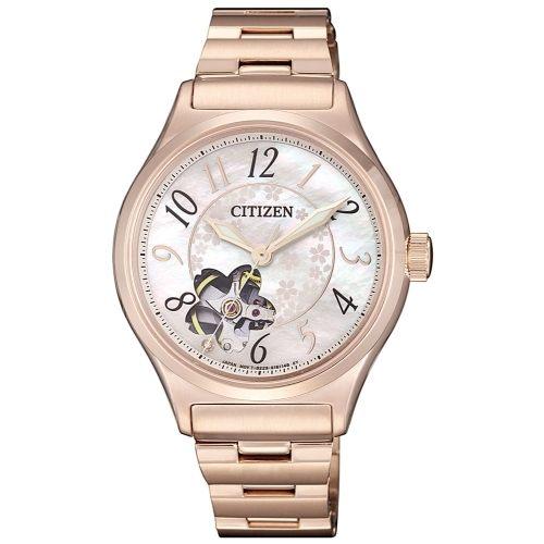 CITIZEN星辰錶 PC1007-65D 開心時尚機械錶 / 貝面+粉 34mm - 限時優惠好康折扣
