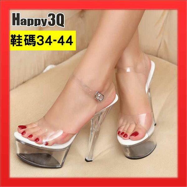 大尺碼高跟鞋大尺碼涼鞋細跟高跟透明性感中空繫帶露趾-多款34-44【AAA1865】