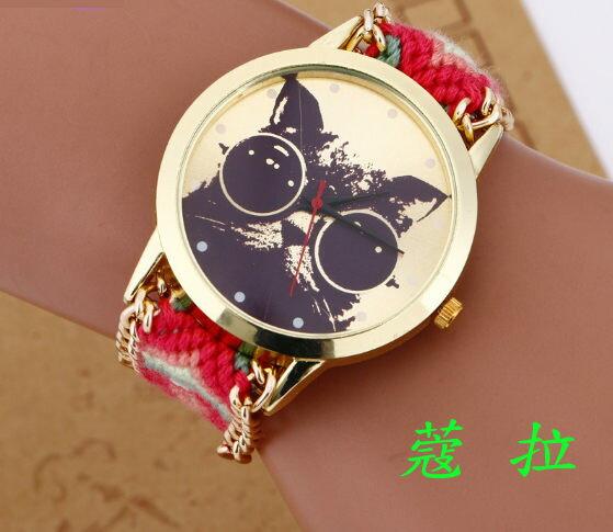 ✻蔻拉時尚✻ [103] 精緻花貓圖案手工鏈手錶 民族風編織手鏈女士錶