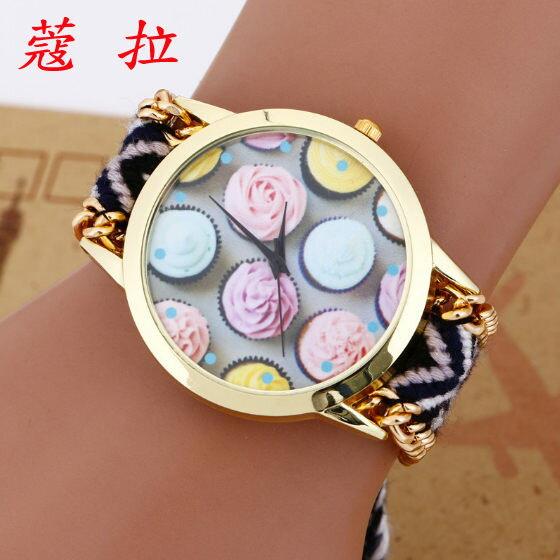 ✻蔻拉時尚✻ [104] 精緻冰淇淋花圖案手工鏈手錶 民族風編織手鏈女士錶