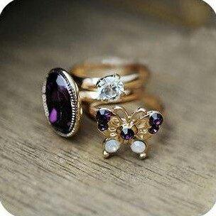 ✻蔻拉時尚✻ [BD011R21] 歐美復古 神秘紫色蝴蝶閃鑽寶石三件套時尚戒指