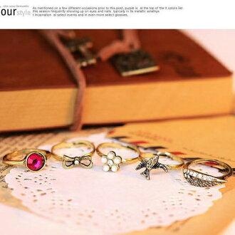 ✻蔻拉時尚✻ [BD157R11] 歐美流行 復古翅膀紅寶石珍珠蝴蝶結套戒指指環 五件套手飾