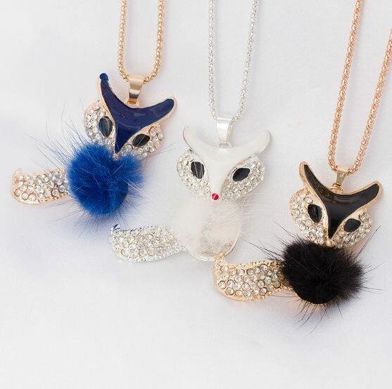 ✻蔻拉時尚✻ [E01] 高檔鑲鑽項鏈__時尚狐狸鑲鑽長款項鏈