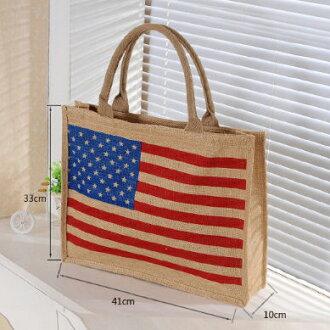 ✻蔻拉時尚✻ [P001] 棉麻包 美國國旗紅酒創意手提包/環保自然棉麻包