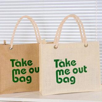 ✻蔻拉時尚✻ [P004] 棉麻包 新款英文圖騰創意手提包/環保自然棉麻包(2色)