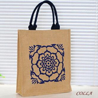 ✻蔻拉時尚✻ [P005] 棉麻包 新款抽象圖騰創意手提包/環保自然棉麻包