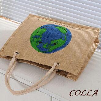 ✻蔻拉時尚✻ [P007] 棉麻包 新款微笑地球創意手提包/環保自然棉麻包