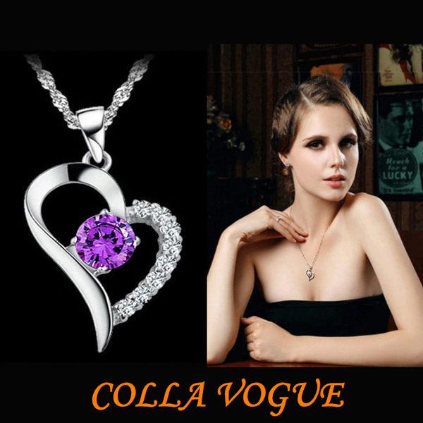 ✻蔻拉時尚✻ [QDZ819] _愛的永恆 925純銀 一心一意款 閃亮瑞士鑽銀製項鍊 兩色可選/設計師款