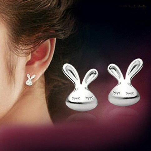 ✻蔻拉時尚✻ [QED033]925銀飾__可愛妮妮兔 純銀耳飾耳釘/專櫃銀飾