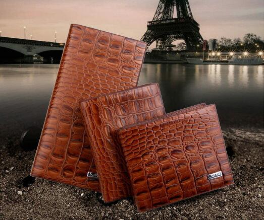 ✻蔻拉時尚✻ [Y905] 個性組合中長款皮夾 鱷魚紋男士創意中長款皮夾/一套三件