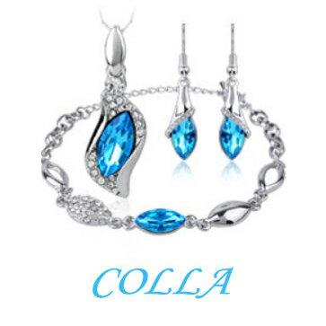 ?蔻拉時尚? [YQ001] COLLA天使之眼奧地利高端水晶 項鏈/手鍊/耳飾-1套3件(4色)