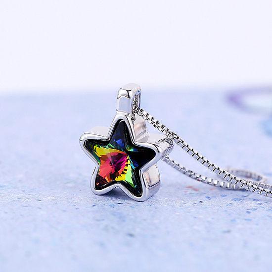 ✻蔻拉 ✻ ^~KN002^~ 高端奧地利水晶___夢幻彩色星星鎖骨項鏈