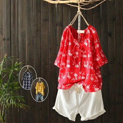 短袖T恤打底衫-夏季新款碎花優雅女上衣3色73sj12【獨家進口】【米蘭精品】