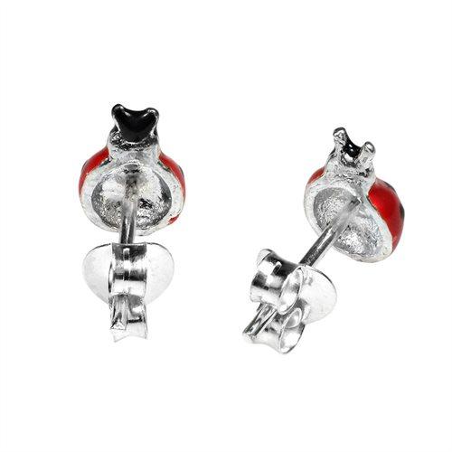 Vibrant Red Enamel Lady Bug Sterling Silver Stud Earrings 2