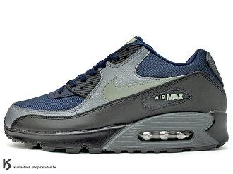 2017 NSW 經典復刻鞋款 人氣商品 NIKE AIR MAX 90 ESSENTIAL 深藍灰黑 網布 皮革 慢跑鞋 (537384-426) 1117