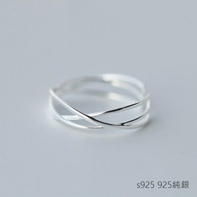 925純銀 三線交叉編織 C型可調整戒指尾戒 防抗過敏 不退色