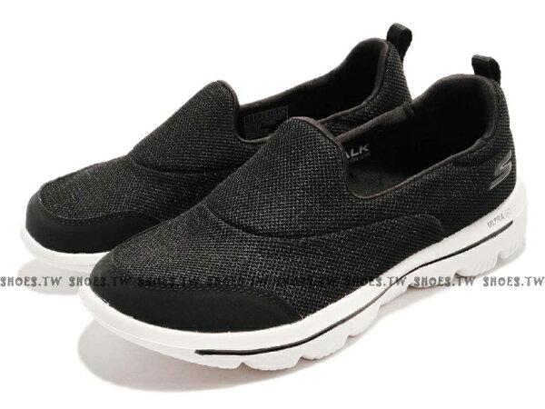 Shoestw【15730BKW】SKECHERSGOWALKEVOLUTION健走鞋記憶鞋墊網布黑白女生