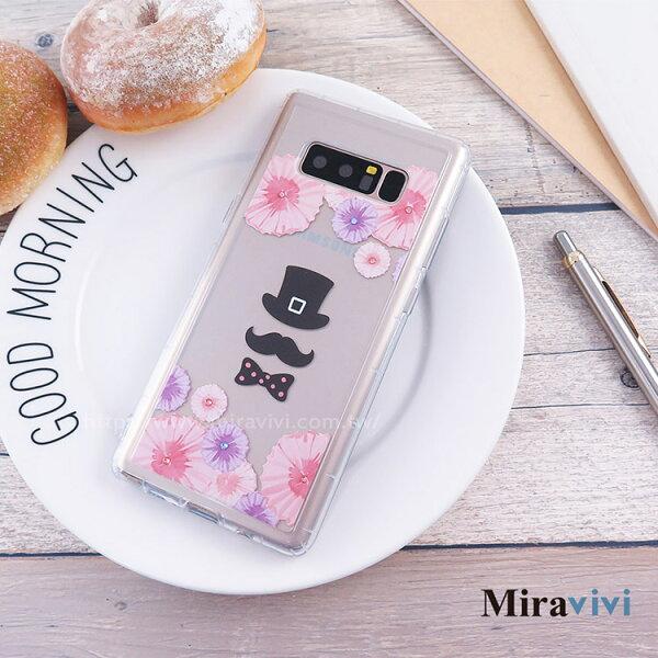 Miravivi:Miravivi原創時尚SamsungGalaxyNote8施華洛世奇水鑽鬍子先生防摔氣墊空壓保護套