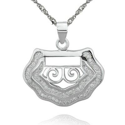 ~925純銀項鍊 鑲鑽吊墜~精緻耀眼獨特大方母親節情人節生日 女飾品73dk299~ ~~