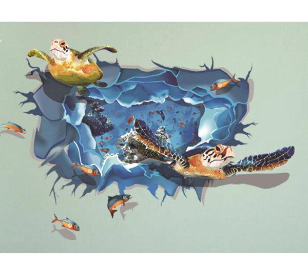BO雜貨【YV2894-2】創意可重覆貼壁貼地板貼時尚組合壁貼超大3D立體海底世界海龜DLX0953C(XL)