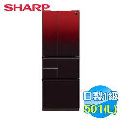 SHARP 501L 變頻 6門鏡面對開冰箱 SJ-GT50BT